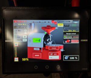 Ekran sterowania piecem do kawy